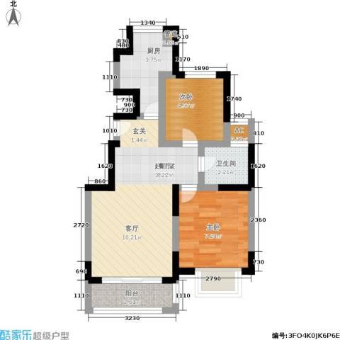 远洋7号2室0厅1卫1厨45.00㎡户型图