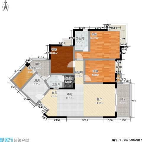 中新城上城3室0厅2卫1厨126.00㎡户型图