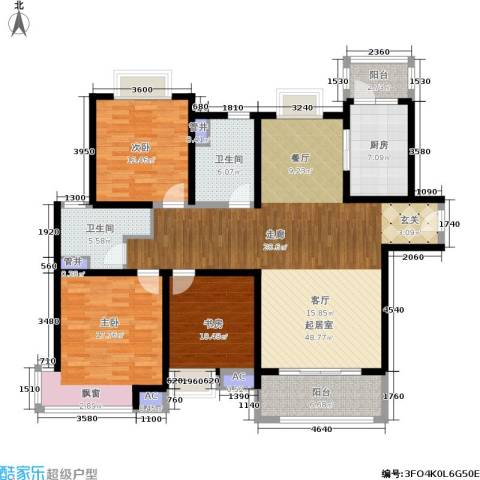 宝地东花园3室0厅2卫1厨137.00㎡户型图