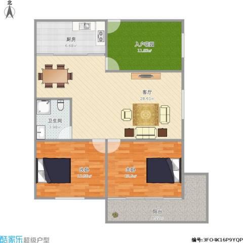 华侨海景城二期2室1厅1卫1厨111.00㎡户型图