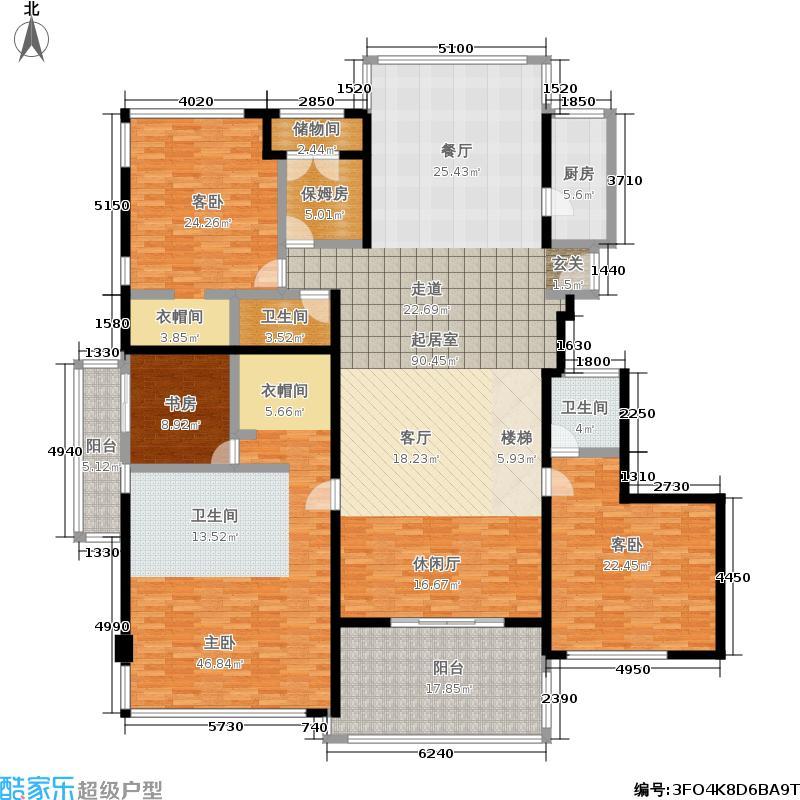置地公馆318.29㎡L座706四室三厅三卫6层户型