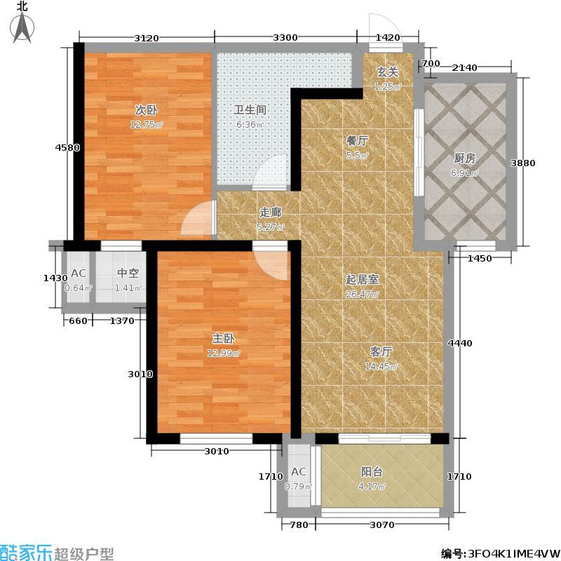 怀特翰墨儒林83.66㎡5#楼D户型2室2厅