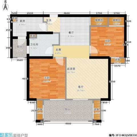 虹桥晶典苑2室0厅1卫1厨94.00㎡户型图