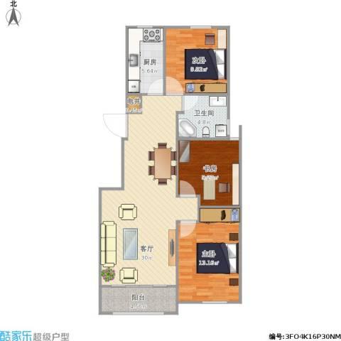 贝尔紫园3室1厅1卫1厨83.86㎡户型图
