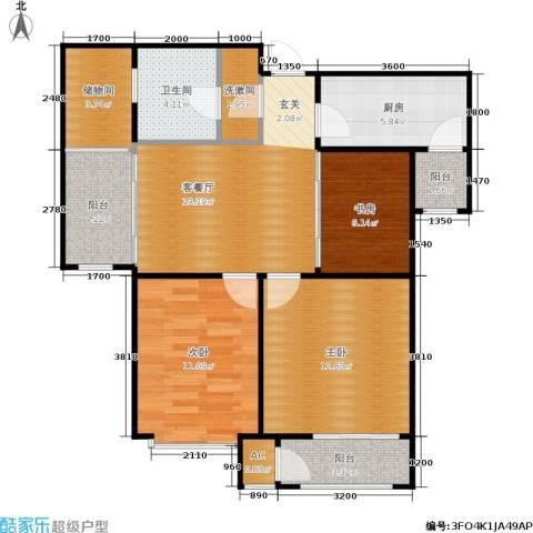 钱隆学府3室1厅1卫1厨81.00㎡户型图