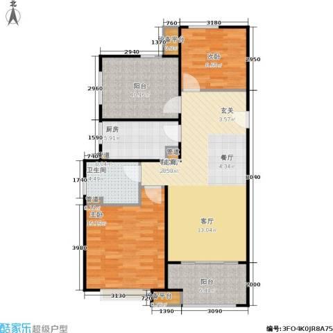 绿地21城滨江汇繁华里2室1厅1卫1厨88.00㎡户型图