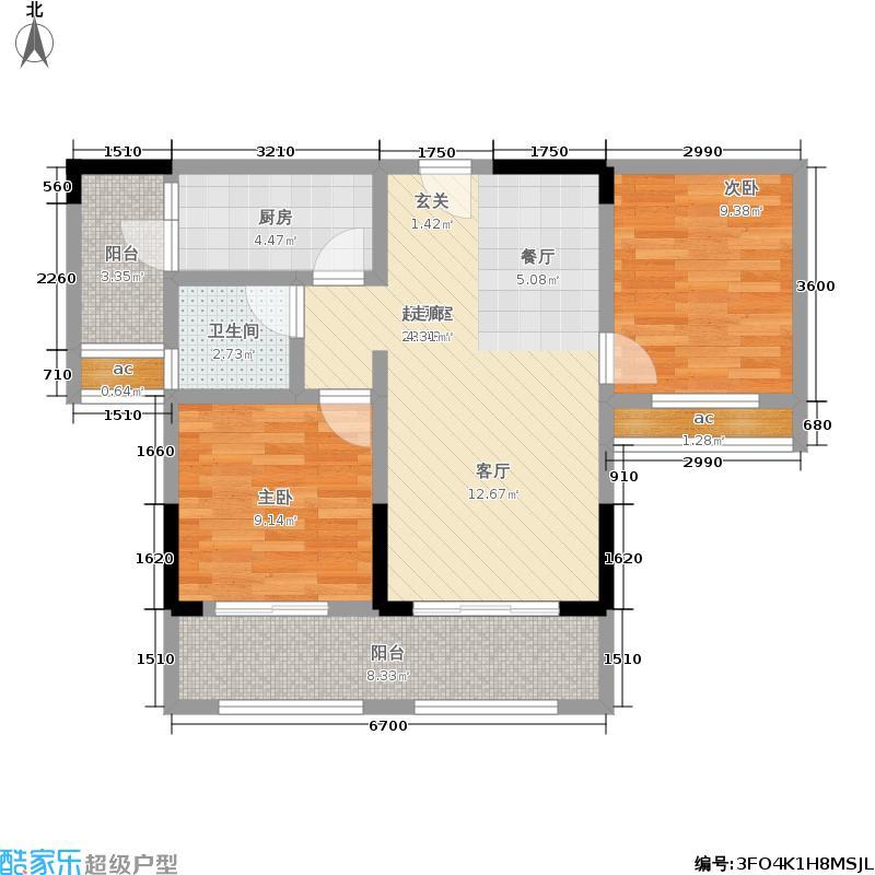 金科廊桥水乡62.59㎡二期D6栋标准层6号房/D7栋标准层2号房户型