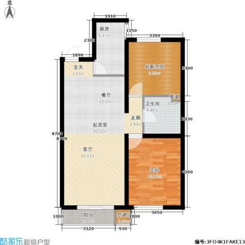 万科蓝山1室0厅1卫1厨74.00㎡户型图