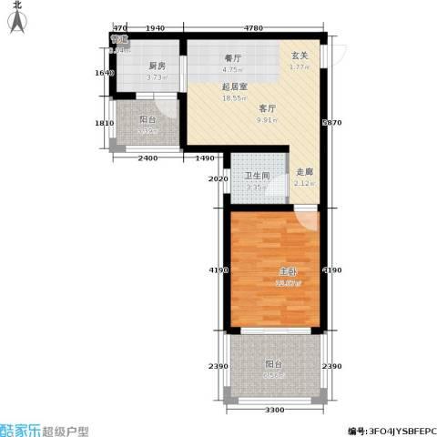 木里小镇1室0厅1卫1厨55.00㎡户型图
