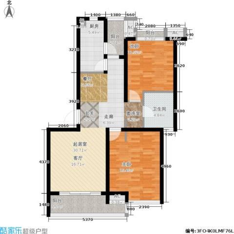 大华铂金华府2室0厅1卫1厨92.00㎡户型图
