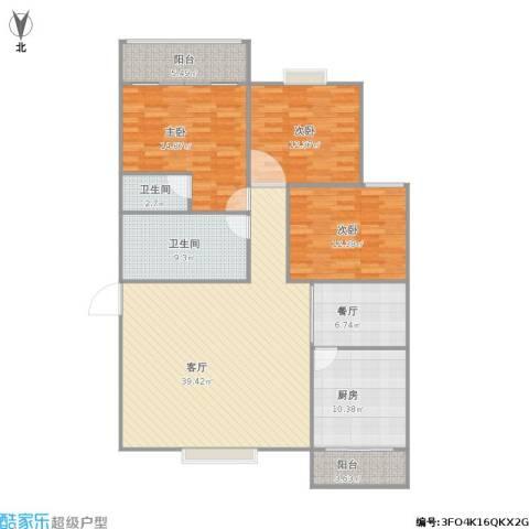 伟东新都新银都3室2厅2卫1厨157.00㎡户型图