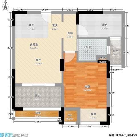 天居玲珑湾1室0厅1卫1厨66.00㎡户型图