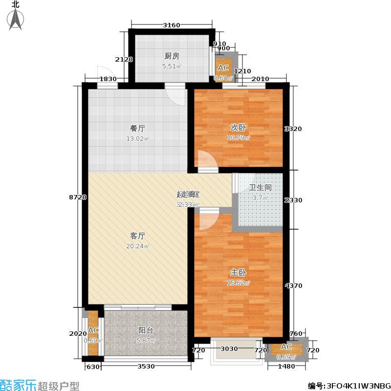 同祥城86.92㎡二期20、21#F3户型2室2厅