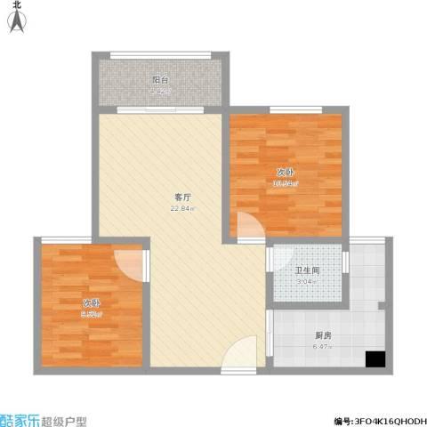 恒鑫名城三期2室1厅1卫1厨65.16㎡户型图