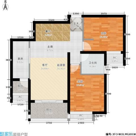 大华铂金华府2室0厅1卫1厨88.00㎡户型图