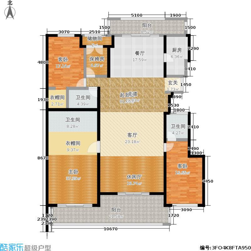 置地公馆248.09㎡L座202三室三厅三卫户型