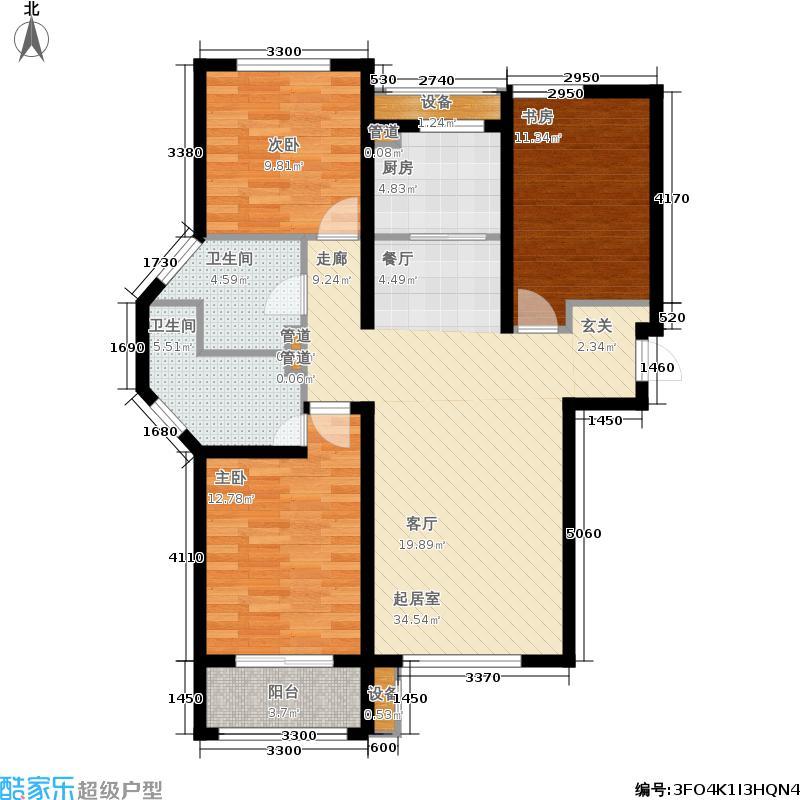 金屋秦皇半岛129.50㎡八区9号楼A户型3室2厅