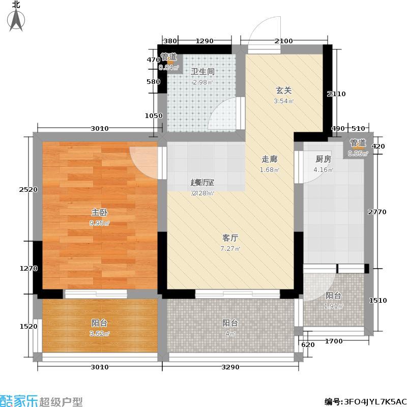 阳光100大湖第45.00㎡2-6号楼B(售完)户型