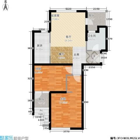大华铂金华府2室0厅1卫1厨87.00㎡户型图