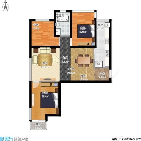 青枫墅园3室1厅1卫1厨106.00㎡户型图
