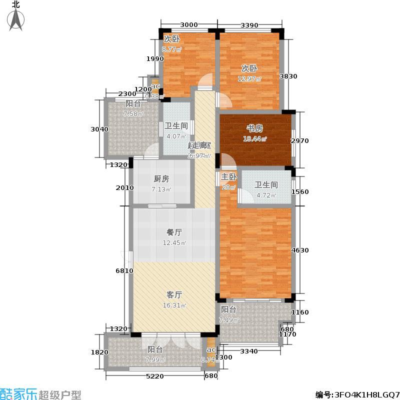 金科廊桥水乡127.18㎡二期23-33号洋房第3层端头户型