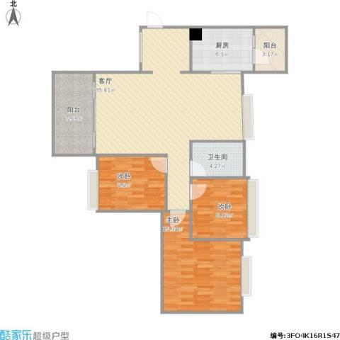 百合家园3室1厅1卫1厨120.00㎡户型图