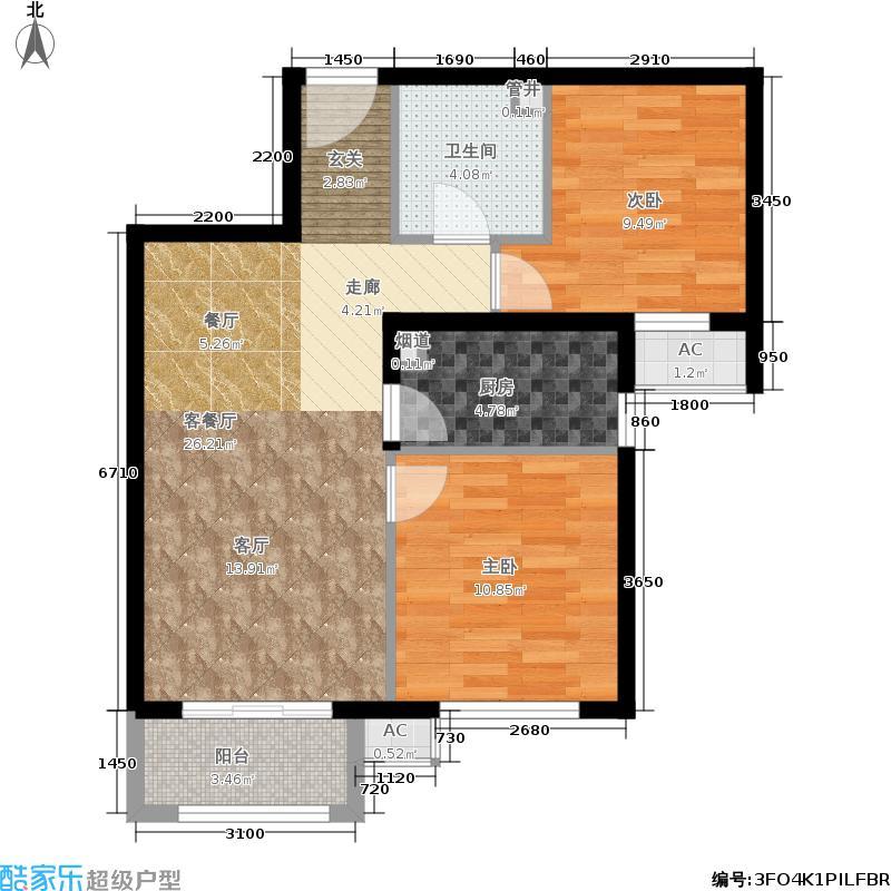 金隅汇景苑87.00㎡5-9号楼中间户B-2户型2室2厅