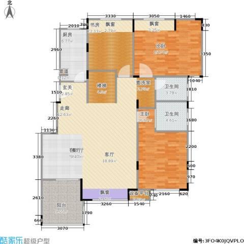 浦发御园3室1厅2卫1厨136.00㎡户型图