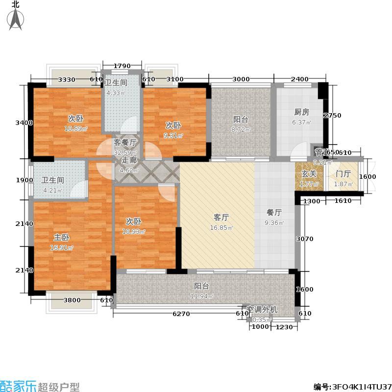 新地东方明珠146.64㎡6#栋01D户型4室2厅
