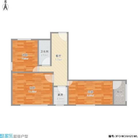 芦席营小区3室1厅1卫1厨59.00㎡户型图