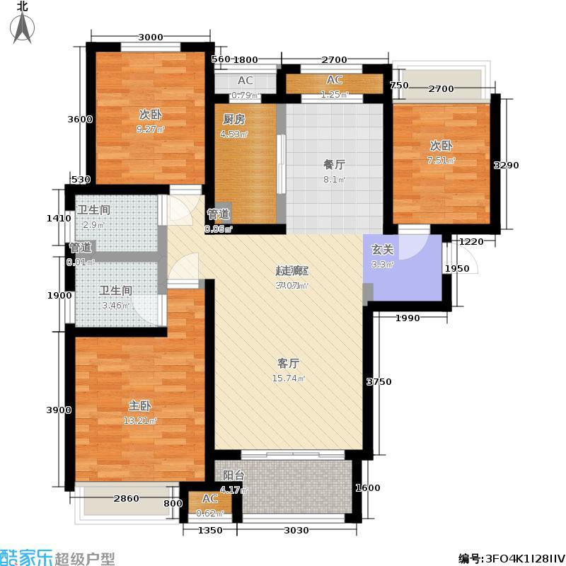 曦城花语113.86㎡一期高层G3B户型3室2厅