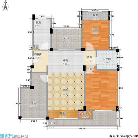 浦发御园2室1厅1卫1厨85.00㎡户型图