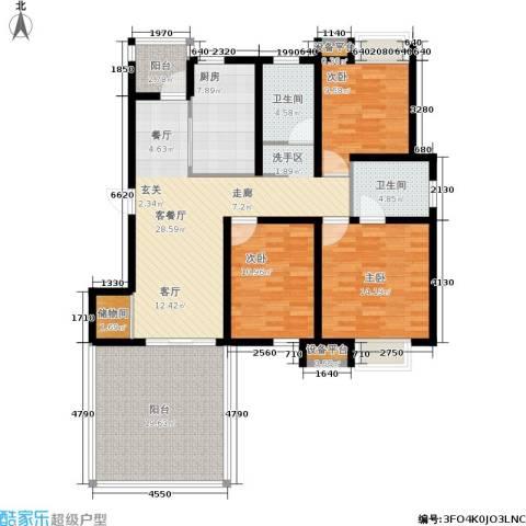 临港海滨国际花园3室1厅2卫1厨122.00㎡户型图