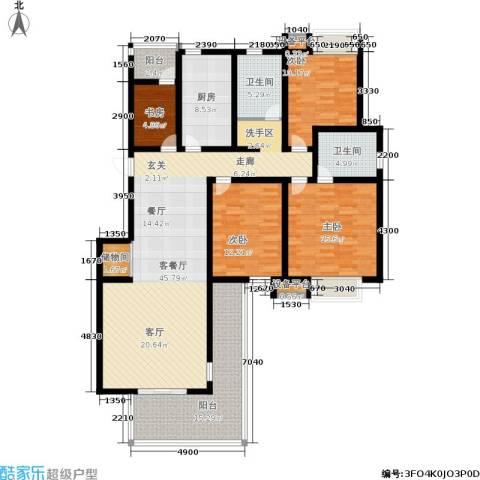 临港海滨国际花园4室1厅2卫1厨148.00㎡户型图