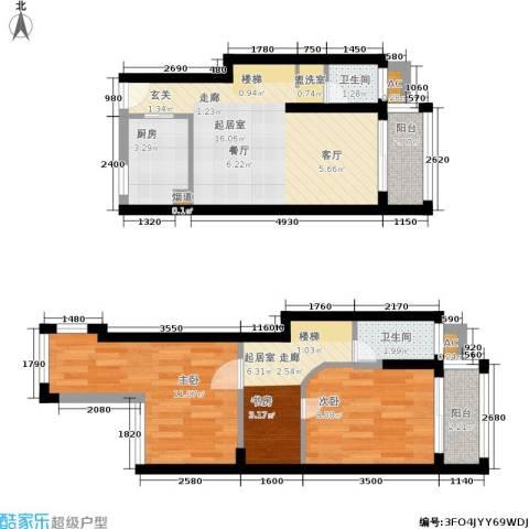 瑞景国际2室0厅2卫1厨64.00㎡户型图