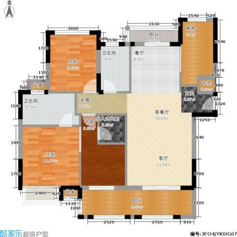 金地华公馆3室1厅2卫1厨125.00㎡户型图