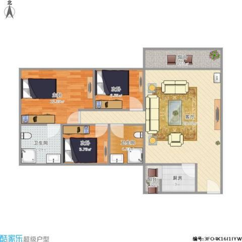 棕榈假日3室1厅2卫1厨98.00㎡户型图