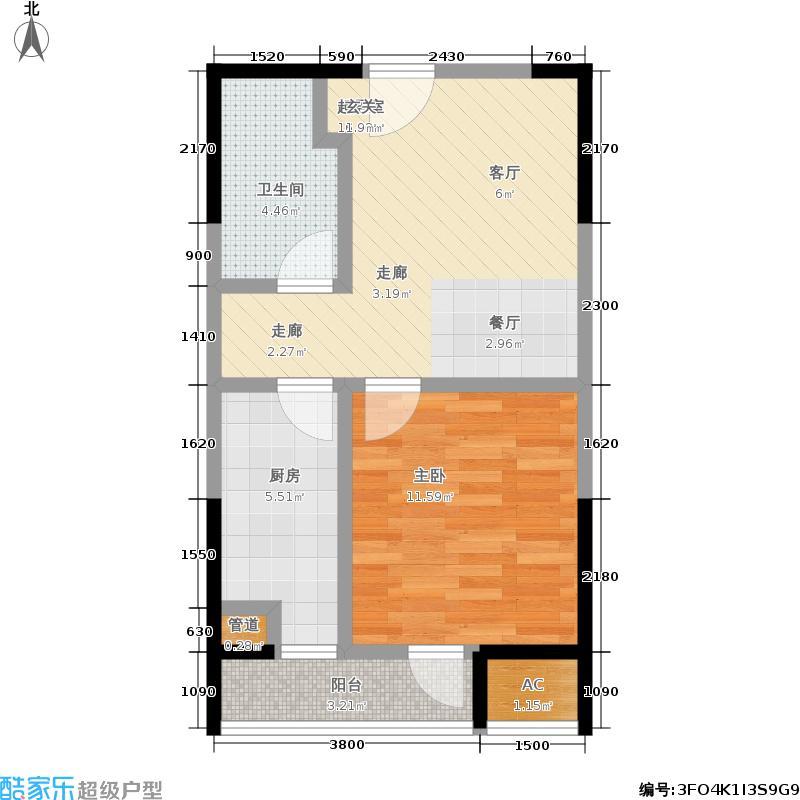 华润橡树湾49.64㎡8#J-3户型1室1厅