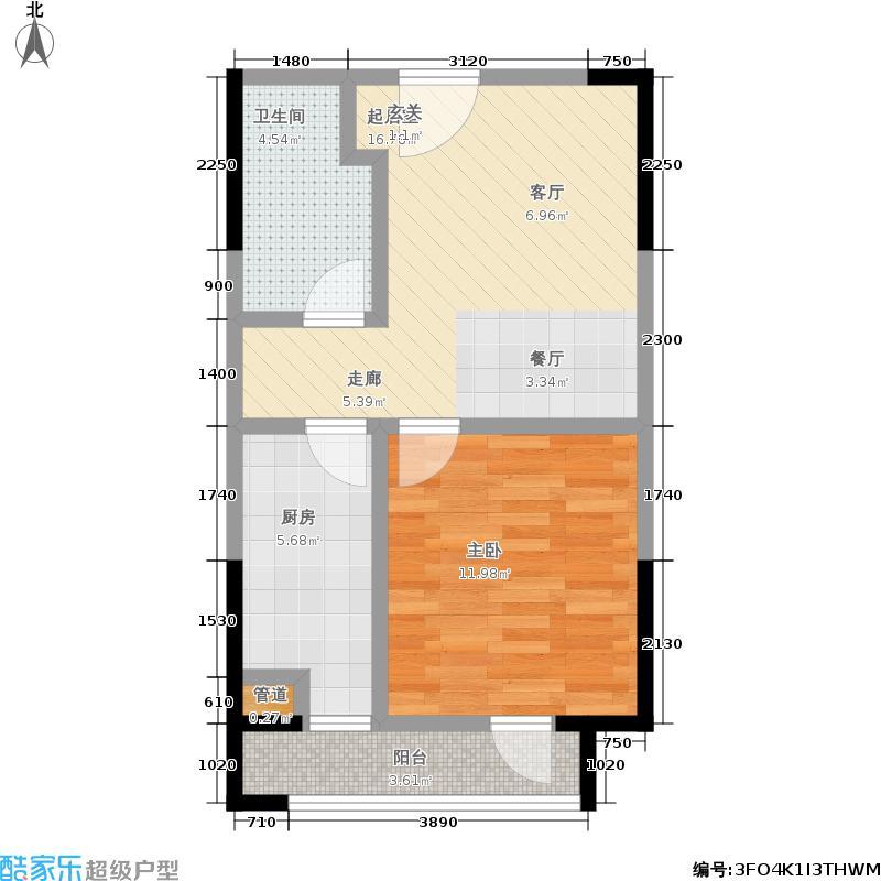 华润橡树湾49.74㎡8#J-5户型1室1厅