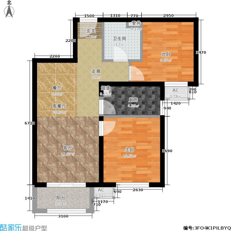 金隅汇景苑87.00㎡12-15号楼中间户B-2户型2室2厅