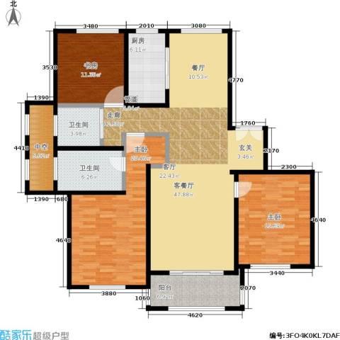 宝华海尚郡领3室1厅2卫1厨139.00㎡户型图
