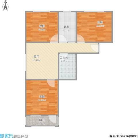 虹苑新寓3室1厅1卫1厨80.00㎡户型图