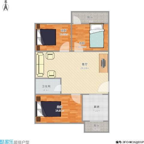 东华苑3室1厅1卫1厨111.00㎡户型图