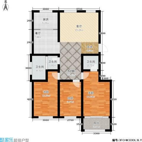东骏阅山3室1厅3卫1厨120.00㎡户型图