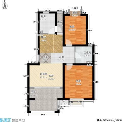 恒盛湖畔豪庭2室0厅1卫1厨88.00㎡户型图