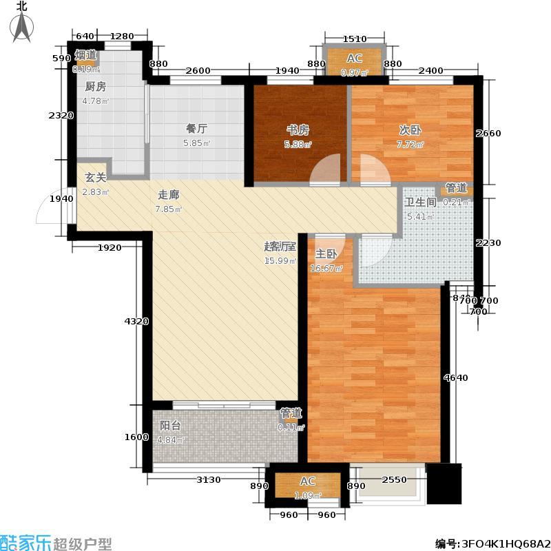 滨湖万科城92.00㎡B2户型3室2厅