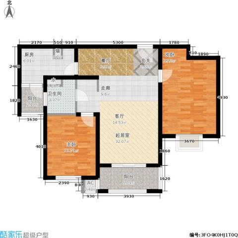 恒盛湖畔豪庭2室0厅1卫1厨91.00㎡户型图