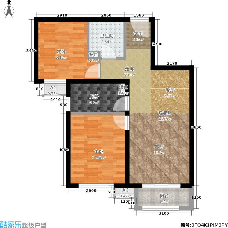 金隅汇景苑87.00㎡1号楼中间户B-6户型2室2厅