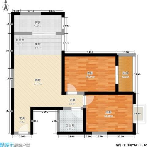 天伦御城龙脉2室0厅1卫1厨83.00㎡户型图