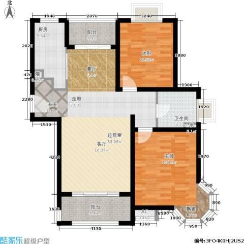 恒盛湖畔豪庭2室0厅1卫1厨92.00㎡户型图